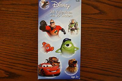 Boxed Disney 34 Valentines with 34 Stickers 7 Fun Designs
