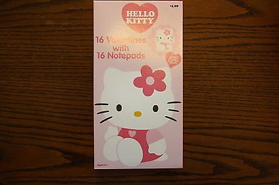 Boxed HELLO KITTY 16 VALENTINE CARDS with 16 Notepads