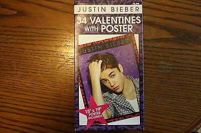 Boxed Justin Bieber 34 Valentines with Poster