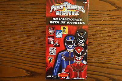 Boxed Power Rangers Megaforce 34 Valentines with 35 Stickers