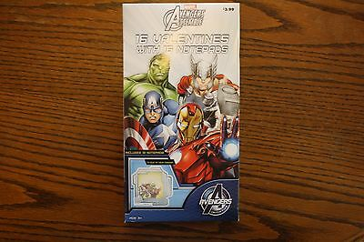 Boxed Marvel Avengers Assemble 16 Valentines with 16 Notepads