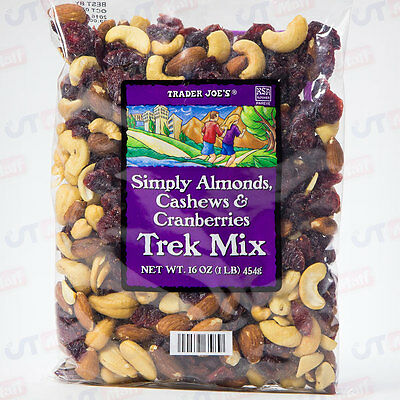 Trader Joe's Simply Almonds Trek Trail Mix Snack Cashews Cranberries 16 oz 1LB