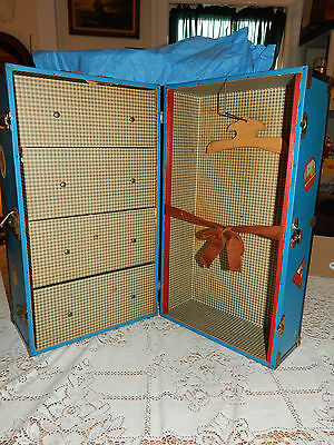 1930s Blue Metal Steamer Doll Trunk Mason and Parker Educational Playthings