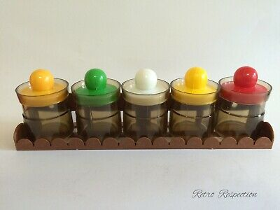 RETRO Spice Canister Set w Wall Rack
