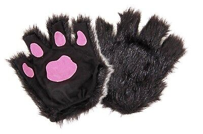Fingerless Kitty Cat Wolf Dog Paws Black Fur Pink Gloves Costume Accessory Adult