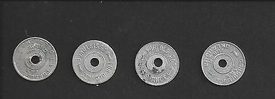 1c ALUMINUM OKLAHOMA TAX TOKEN QUARTET - FOUR PIECES