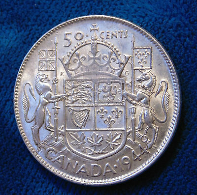 CANADA 50 cents 1944 wide date silver half dollar fifty cent piece