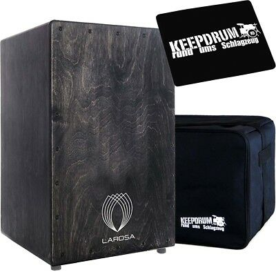 La Rosa Basic Serie Blackie Cajon + KEEPDRUM Gig Bag + Sitzpad