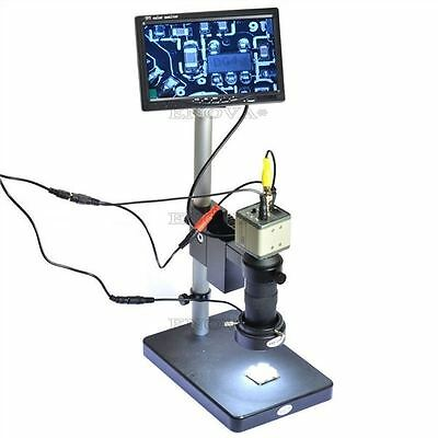 "New 800Tvl 100X Microscope Industrial Camera Zoom Lens Bnc Output 7"" Lcd Monit J"