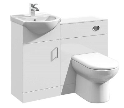 1050mm High Gloss White Bathroom Vanity Basin & BTW WC Toilet Cabinet Furniture