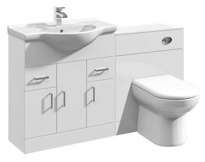 1350mm High Gloss White Bathroom Vanity Basin Sink Cabinet & WC Toilet Furniture