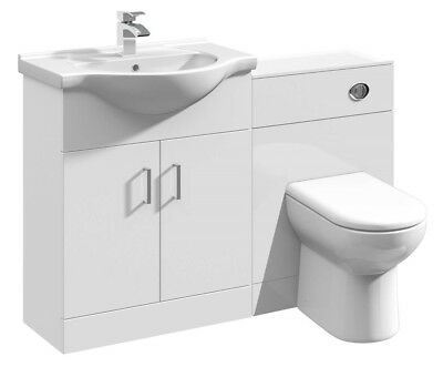 Back to wall BTW Toilet WC Pan White Bathroom Vanity Basin Cabinet 1150mm