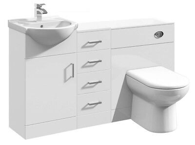 1350mm High Gloss White Bathroom Vanity Basin Cabinet, Cupboard & BTW WC Toilet