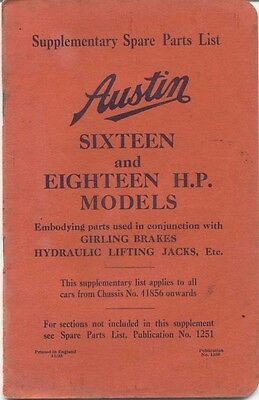 Austin Sixteen 16 & 18 original illustrated Supp. Spare Parts List 1935 No. 1350
