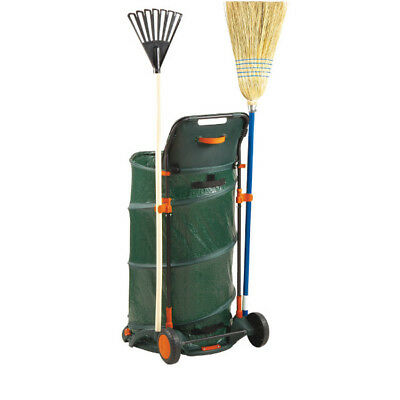 Leaf Collector 160 Litre Foldable With Bag Wheelable Wheeled Leaves Cart Garden