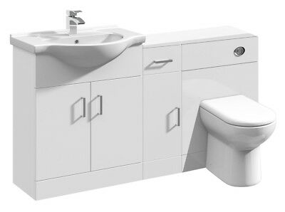 1400mm High Gloss White Bathroom Vanity Sink Unit, Cupboard BTW Toilet Furniture