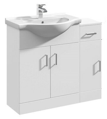 900mm High Gloss White Bathroom Vanity Basin Sink Cabinet & Cupboard Furniture