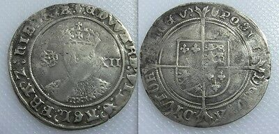Collectable 1547-53 Edward VI Silver Hammered Shilling Coin - Mint Mark Tun
