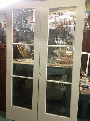 1930's 3 Panel Glass And Wood  French Doors With Wavy Glass