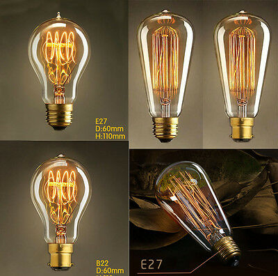 Vintage Filament E27/E14/B22 Edison Bulbs Bayonet Screw Antique Industrial Light