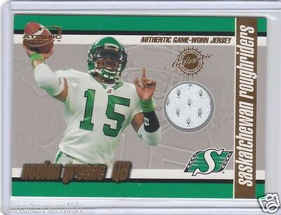 2003 Pacific Atomic CFL Jersey Patch #12 Nealon Greene Saskatchewan Roughriders
