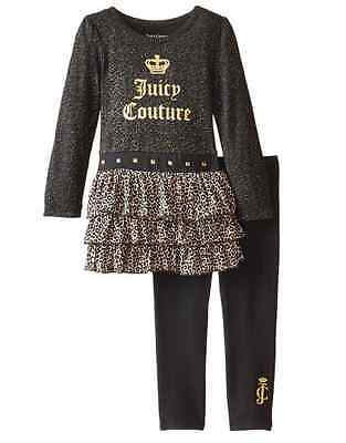 Juicy Couture Girls Black & Gold Logo Tunic & Leggings Outfit Set NEW Tags