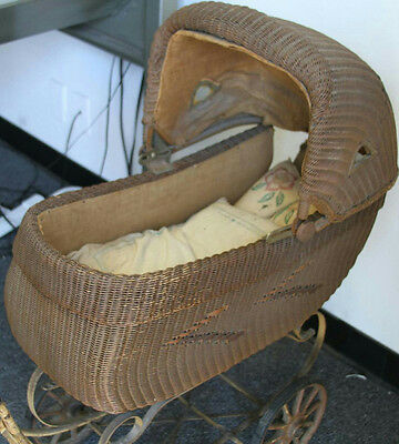 Antique Vintage Heywood Wakefield Wicker Stroller Style No. 85064