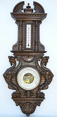 Antique Carved Black Forest Wood Barometer Thermometer Weather Chimera Griffin