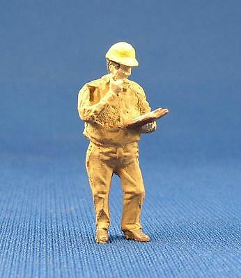 Detailed Construction Worker People Pewter Metal Figure O / S Scale Train Layout