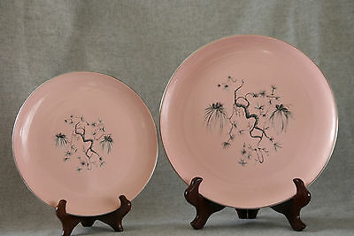 Vtg Mid Century Taylor Smith Taylor Dwarf Pine Pink Lunch Dinner Plate Dish Set