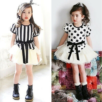 2 PZ Bambine A righe A Pois T-shirt + gonna tutù Set Estate Bambini Outfit