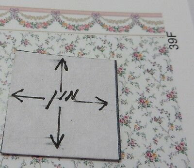 Dollhouse Miniature 1:48 Scale Wallpaper, Rose Swag, Pink, 3 Sheets #39F/48