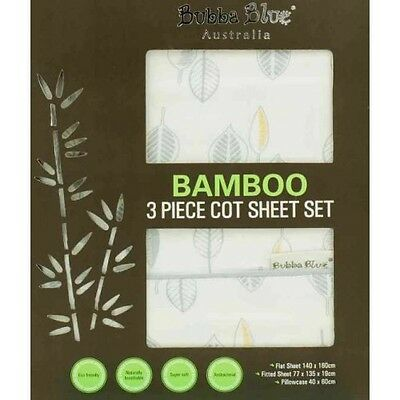 Bubba Blue Bamboo Leaf 3 Piece Cot Sheet Set - Baby Nursery Bedding Gift