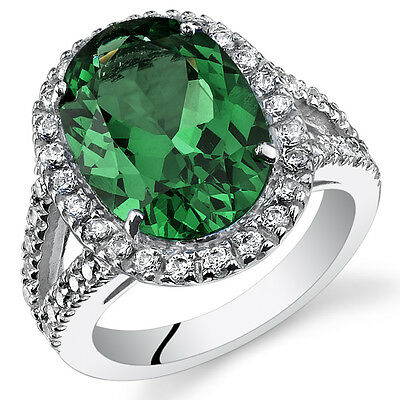 7.00ct Lab Created Oval Emerald Sterling Silver Ring Sizes 5 to 9 SR11112