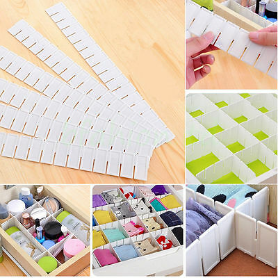 Adjustable DIY Grid Clapboard Divider Drawer Closet Storage Organizer 6pcs FN