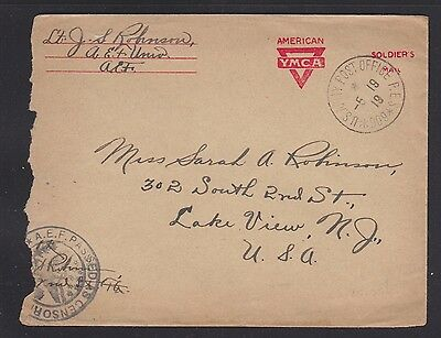 Usa 1919 Two Censored Wwi Ymca Covers Aef Censored Apo Cancels