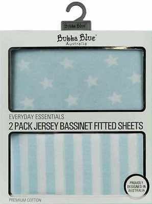 Bubba Blue 2 Pack Jersey Bassinet Fitted Sheets - Blue Baby Cradle Stars Stripes