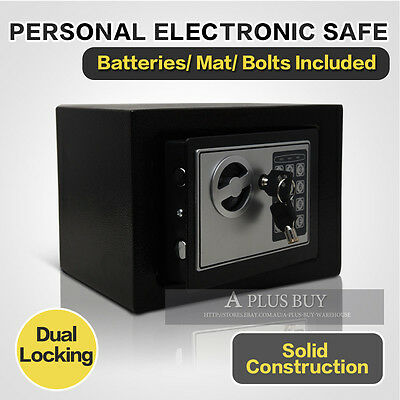 New Solid Steel Compact Double Security Personal Valuables Money Safe Black S