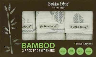 Bubba Blue BAMBOO Leaf 3 Pack Face Washers Set - Baby Shower Newborn Gift