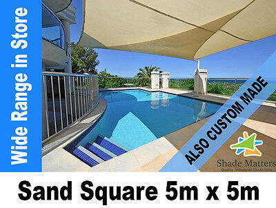 New Extra Heavy Duty Shade Sail- Square 5m x 5m Sand Color Also Custom Made