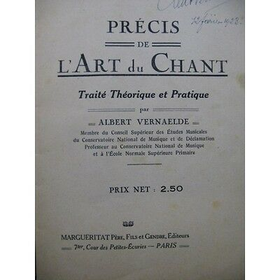 VERNAELDE Albert Précis de l'Art du Chant Dédicace 1923  Partition Sheet Music S
