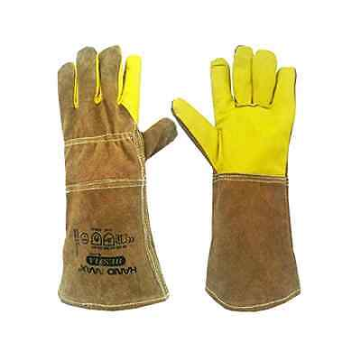 Animal Handling Gloves GAUNTLET LEATHER Kevlar DOG CAT BIRD Training Adedd home