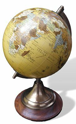 High quality stylish cream 20cm diameter globe on brass stand with wooden base