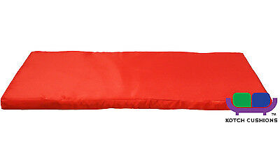 Set of 3 Decorative Red Seat Pad Garden Furniture Kotch Chair and Bench Cushions