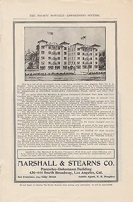1907 Marshall & Stearns Co Los Angeles CA Ad: Wall Beds in Los Angeles Apartment