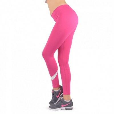 NEW Womens Nike Club Logo 2 Gym Sports Workout Fitted Leggings - Pink and White