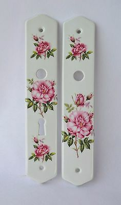 Pair of Vintage French Limoges Porcelain Door Push / Finger Back Plates, Roses