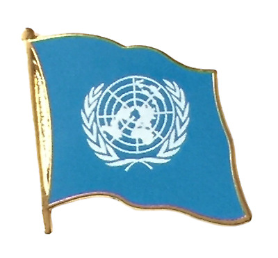 United Nations Flag Gold Plated Enamel Lapel Pin Badge