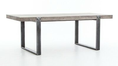 "84"" L Dining table light grey concrete cement top industrial design steel legs"