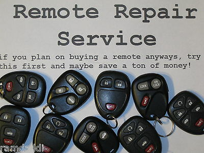 GM Key Fob Transmitter Repair Service for MOST GM Remotes SHIP BACK IN 24 HOURS!